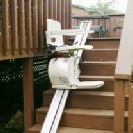 Outdoor stairlift fitted to wooden steps